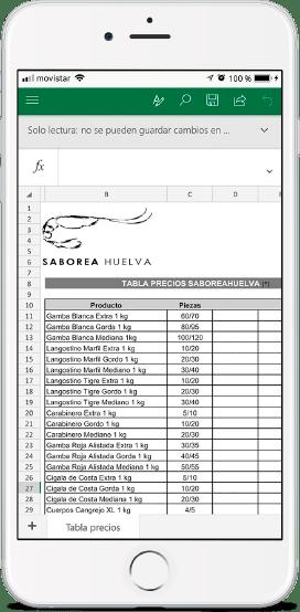 Pedido marisco Online Saborea Huelva